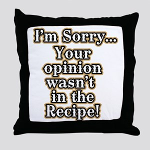 Funny recipe apron or shirt for the k Throw Pillow
