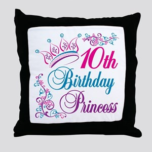 10th Birthday Princess Throw Pillow