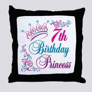 7th Birthday Princess Throw Pillow