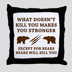 Except For Bears Throw Pillow
