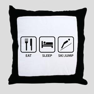 Eat Sleep Ski Jump Throw Pillow