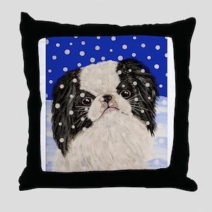 Snowflakes japanese chin Throw Pillow