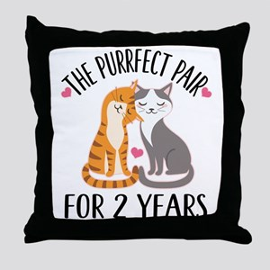 2nd Anniversary Couples Gift Throw Pillow