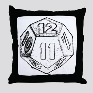 12 sided die dark Throw Pillow