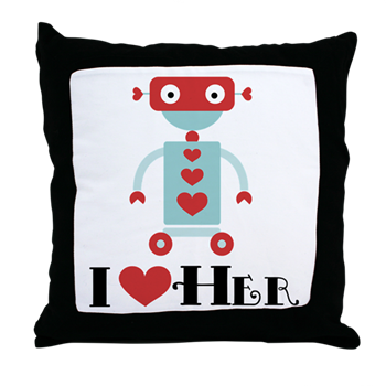 310e11a06b Robot Couples Valentine Throw Pillow > Robot I Heart Her Valentine Mens  Shirts > Couple Shirts and Relationship Gifts