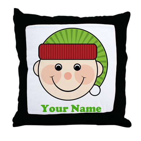 Personalized Christmas Elf Throw Pillow