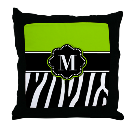 Lime Green Zebra Monogram Throw Pillow
