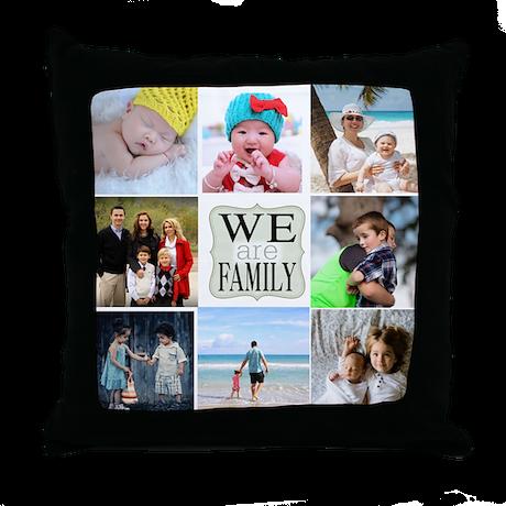 Custom Family Photo Collage Throw Pillow