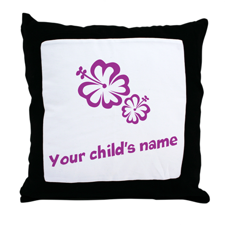 Purple Flowers Personalized Throw Pillow