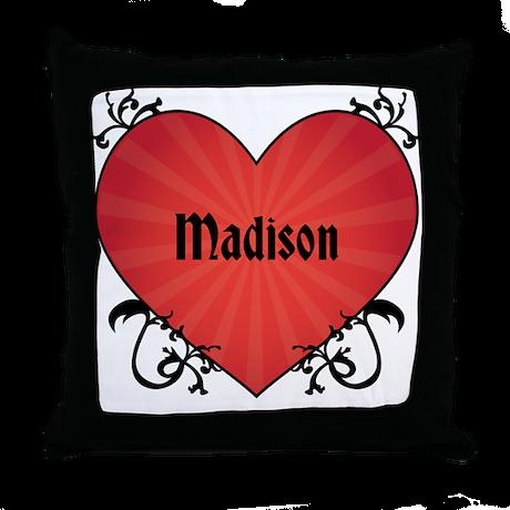 Custom Name Tattoo Heart Throw Pillow