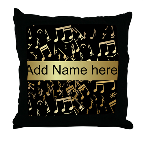 designer gold Musical notes Throw Pillow