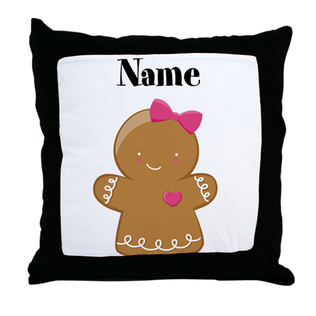 Personalized Gingerbread Girl Throw Pillow