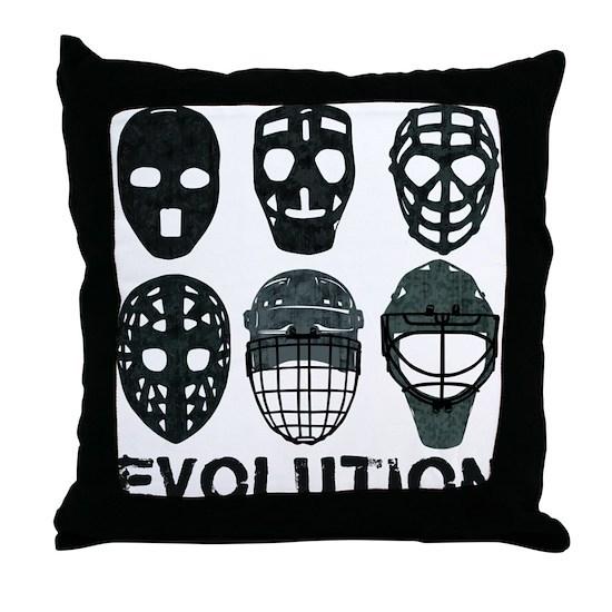 Hockey Goalie Mask Evolution Throw Pillow By Brando Cafepress
