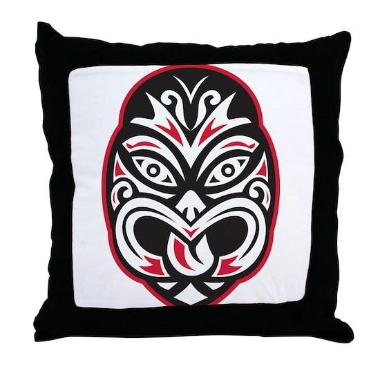 d2154a712b061 maori tiki moko tattoo mask Throw Pillow by RetroVectors - CafePress