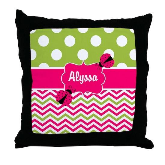 Pink Green Chevron Ladybug Personalized Throw Pillow