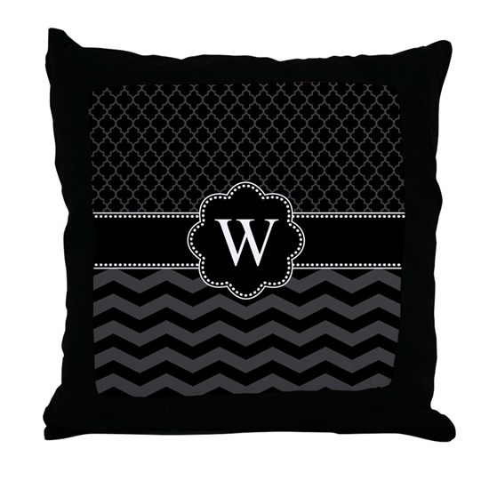 Monogram Black/Gray Chevron Block