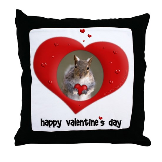 Happy Valentines Day Squirrel Throw Pillow By Imagesbycharlie Cafepress