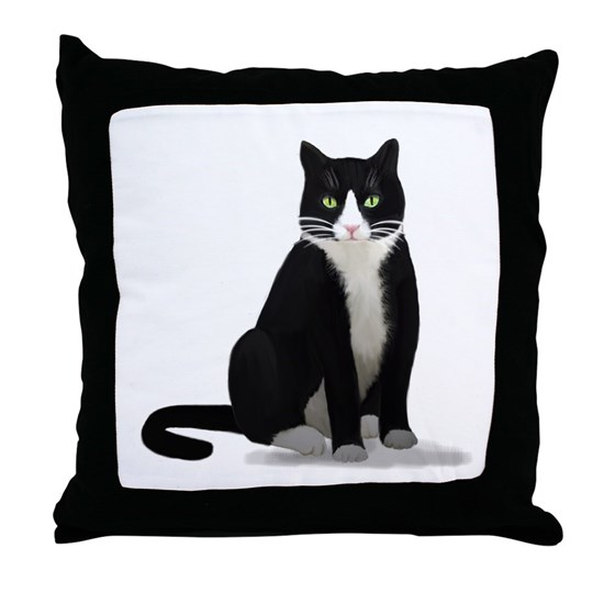 Black And White Tuxedo Cat Throw Pillow By Cats Only Cafepress