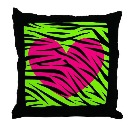 Hot Pink Green Zebra Striped Heart Throw Pillow
