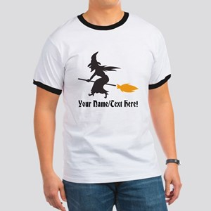 Custom Personalized Halloween Witch Broom T-Shirt