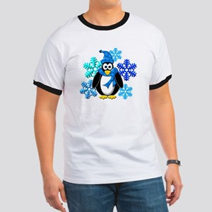 Penguin Snowflakes Winter Design Ringer T