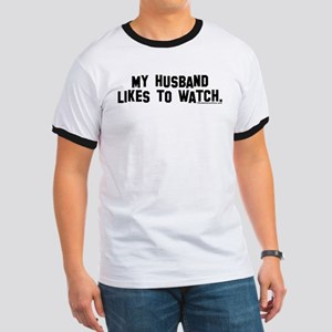 """My husband likes to watch."" Women's Pink T-Shirt"