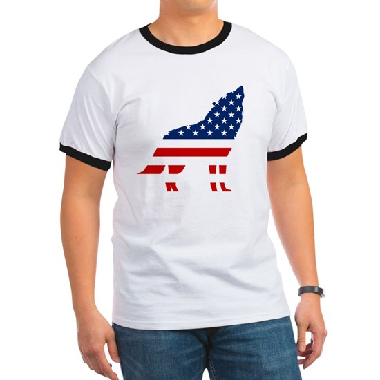 Fourth of July Shirt USA Flag Wolf Patriotic 4th