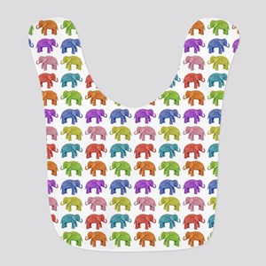 Colorful Parade of Elephants in Polyester Baby Bib