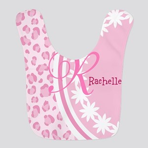 Stylish Pink and White Monogram Bib