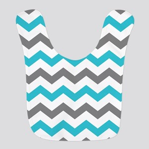 Teal and Gray Chevron Pattern Bib
