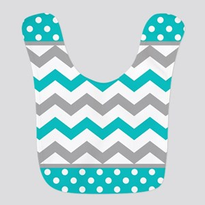 Teal and Gray Chevron Polka Dots Bib