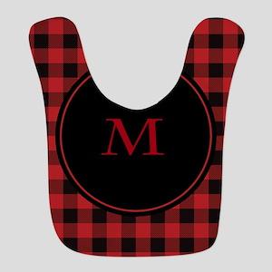 Red Black Plaid Monogram Bib