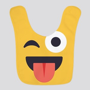 Winky Tongue Emoji Face Polyester Baby Bib