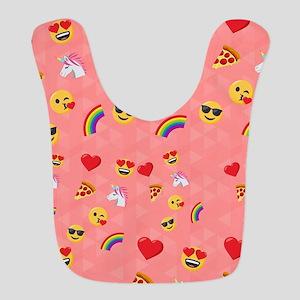 Emoji Pink Pattern Polyester Baby Bib