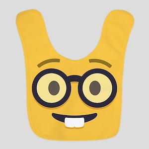 Nerdy Emoji Face Polyester Baby Bib