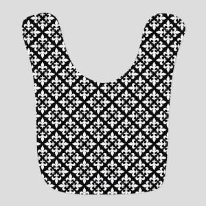 Black and White Fleur de Lis Pattern Polyester Bab