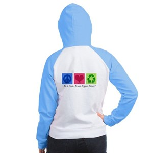 Peace Love Recycle Women's Raglan Hoodie