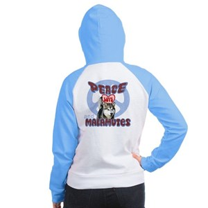 PEACE LOVE and MALAMUTES Women's Raglan Hoodie