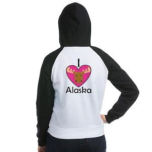 I Love Alaska Women's Raglan Hoodie