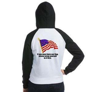 If you must burn our flag Women's Raglan Hoodie