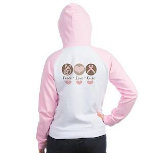 Peace Love Cure Pink Ribbon Women's Raglan Hoodie