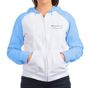 Wrestling Mom Blu/Gray Women's Raglan Hoodie