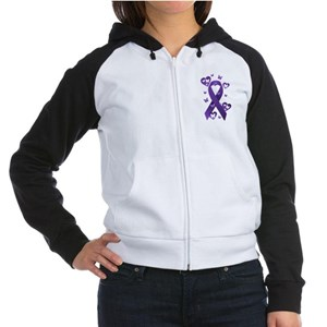 Purple Awareness Ribbon Women's Raglan Hoodie