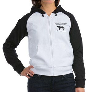 Black Lab Pawprints Women's Raglan Hoodie