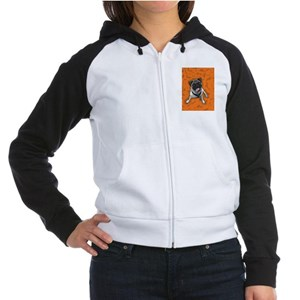 Pug Orange Women's Raglan Hoodie