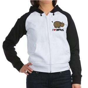 I Love Hippo Women's Raglan Hoodie