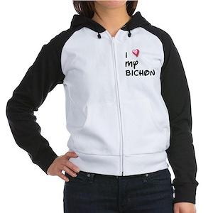 I Love My Bichon Women's Raglan Hoodie