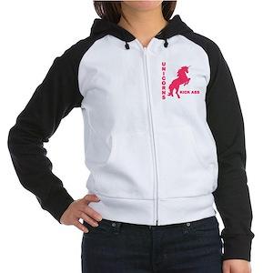 Unicorns Kick Ass Women's Raglan Hoodie