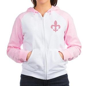 Pink Gingham Fleur de lis Women's Raglan Hoodie
