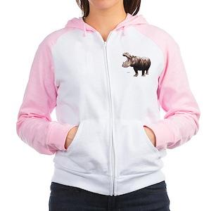 Hippo Hippopotamus Women's Raglan Hoodie